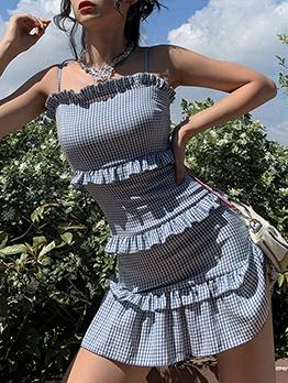 Stringy Selvedge Detail Sleeveless Plaid Dress