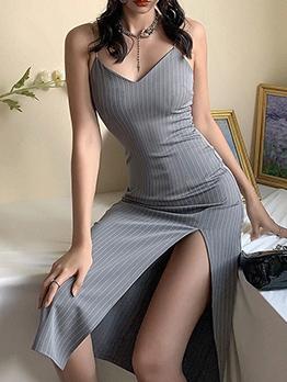 Fashion Split Hem V Neck Sleeveless Midi Dress