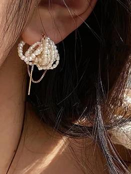 Retro Style Temperament Pearl Earrings For Women