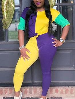 Color Block Long Sleeve Two Piece Pants Set