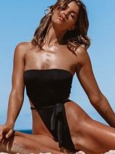 Tie Wrap High Cut Strapless Black Swimsuit