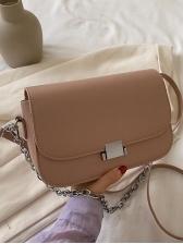 Removable Chain Solid Color Shoulder Bag For Women