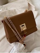 Square Solid Color Pu Women Chain Shoulder Bag