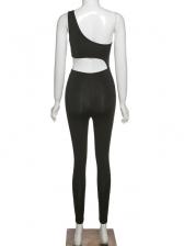 Single Shoulder Asymmetrical Sport Skinny Jumpsuit
