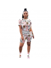 Heart Poker Printed Trendy Two Piece Shorts Set