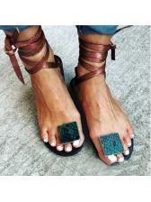 Animal Printed Flat Lace Up Ladies Sandal