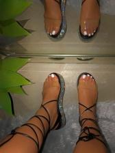 Hot Sale Rhinestone Lace Up Platform Sandals