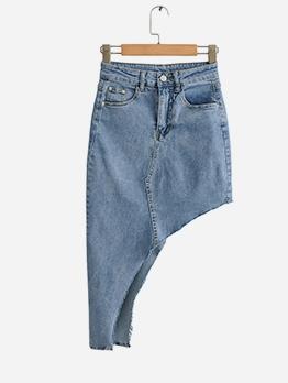 Asymmetrical Cutting High Waist Blue Denim Skirt