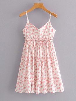 Peach Print V Neck Slip Dress For Women