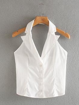 Single-Breasted White Sleeveless Halter Blouse