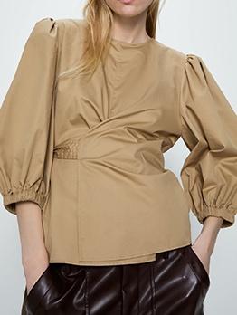 Vintage Style Puff Sleeve Ladies Blouse