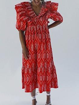 Half Sleeve Embroidery Red Midi Dress Vintage
