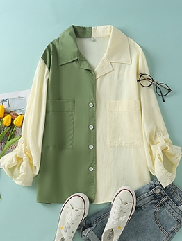 Contrast Color Single Breasted Long Sleeve Shirts