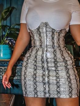 Snake Print Patchwork Short Sleeve Dress