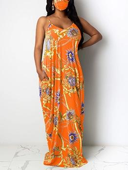 V Neck Printed Sleeveless Maxi Dress Without Mask