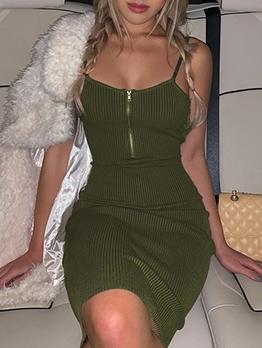 Front Zipper Solid Color Backless Slip Dress