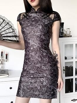 Animals Pattern Back Zipper Cheongsam Black Dress