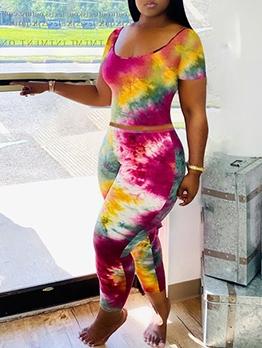 Deep U Neck Short Sleeve Tie Dye Women Sets
