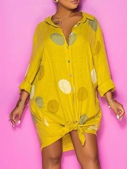 Single-Breasted Dots Print Long Sleeve Shirt Dress