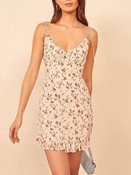 Vintage Printed Backless Camisole Summer Dresses