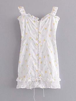 Stylish Printed Stringy Selvedge Sleeveless Summer Dresses