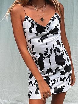 Cow Print Pattern Spaghetti Strap Summer Dress
