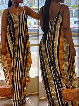 Print Spaghetti Strap V Neck Casual Maxi Dresses