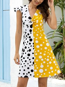 Spring Summer V Neck Dot Print Patchwork Beach Dresses