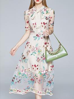 Boutique Embroidery Gauze Short Sleeve Midi Dress