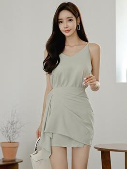 Elegant Irregular Hem Green Skirt Set For Women
