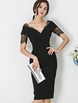Lace Patch V Neck Short Sleeve Bodycon Dress