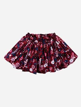 Daisy Print Short Sleeve A-Line Skirt For Girls