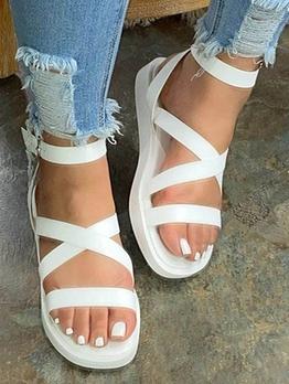 Roman Style Solid Platform Flat Sandals