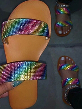 Colorful Rhinestone Flat Beach Summer Slippers
