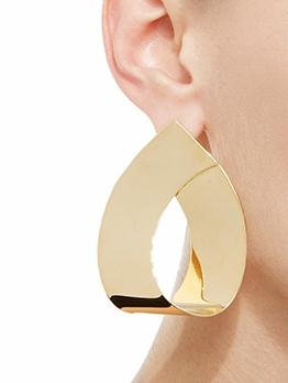 Geometric Shape Glossy Alloy Big Earrings Design