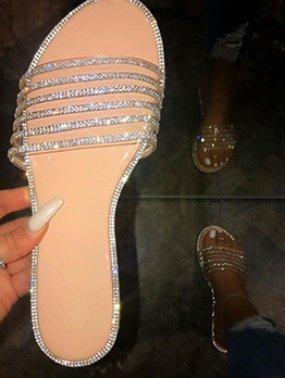 Rhinestone Flat Beach Stylish Slippers