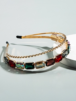 Fashion Colorful Geometric Rhinestone Double Hair Band