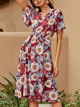 Vintage Printed Daisy Printed Short Sleeve Dress