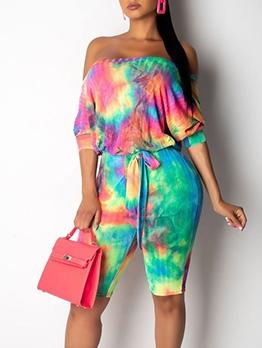Fashion Tie Dye Bat Sleeve Rompers For Women