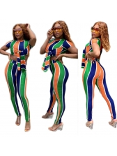 Colorful Striped Tie Wrap Crop Top And Pants Set