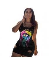 Colorful Eyes Print Summer Vest Dress