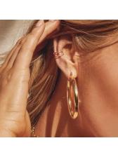 Solid Color Simple Design Thick Hoop Earrings
