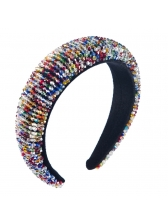 Pleuche Patchwork Multicolored Beads Women Hairbands