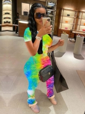 Tie Dye Stacked Design Two Piece Pants Set