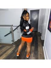 Color Block Long Sleeve Crop Top And Skirt Set