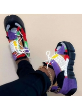 Casual Patchwork Printed Sneakers For Women