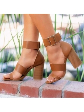 Fashion Round Toe Chunky Heel Summer Sandals