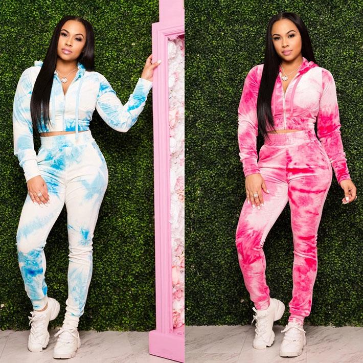 Print Long Sleeve Hoodies Two Piece Women Sets