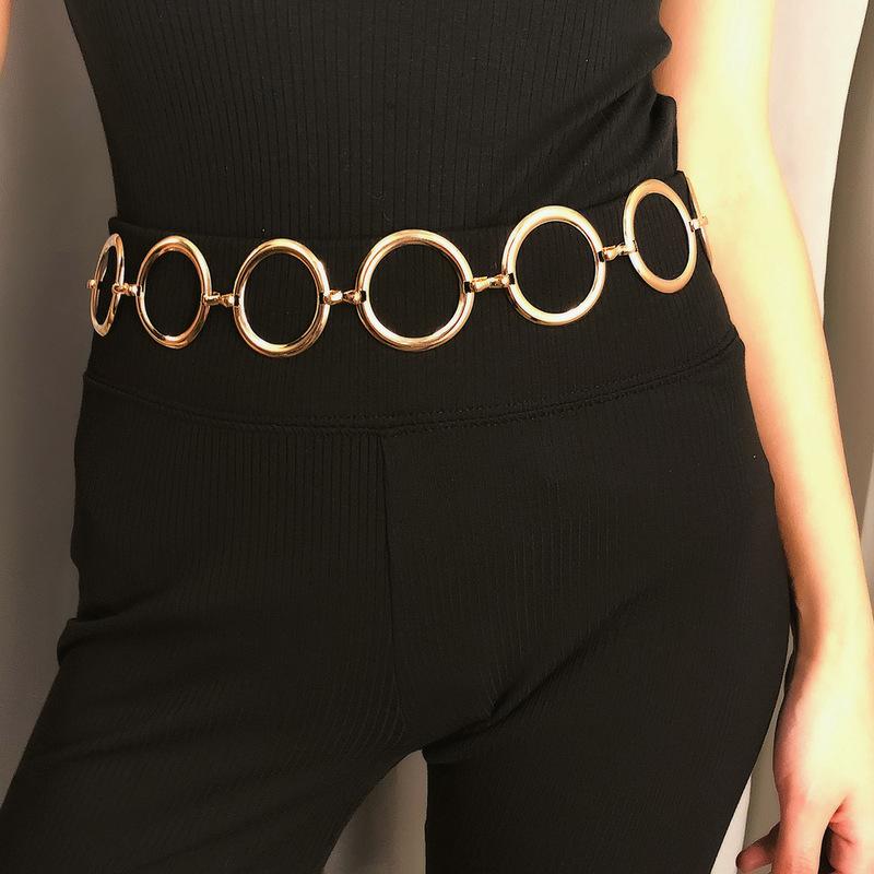 Alloy Circles Glossy Color Women Body Chain Waist Belt