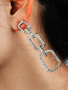Elegant Faux Rhinestone Long Earrings For Women
